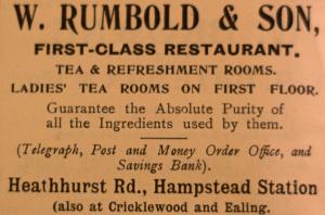 W Rumbold advert
